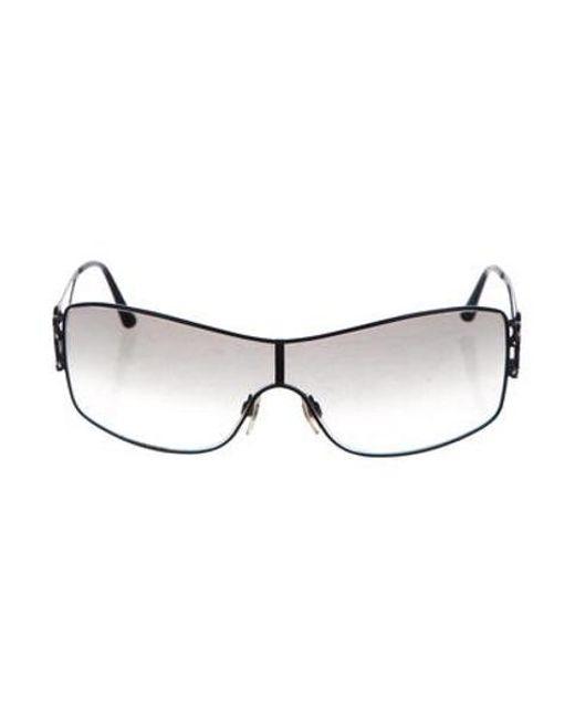 860f9ab777582 Chanel - Black Cc Shield Sunglasses - Lyst ...