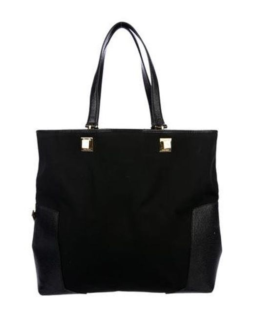 4a3bf47ebe Ferragamo - Metallic Leather-trimmed Canvas Tote Black - Lyst ...
