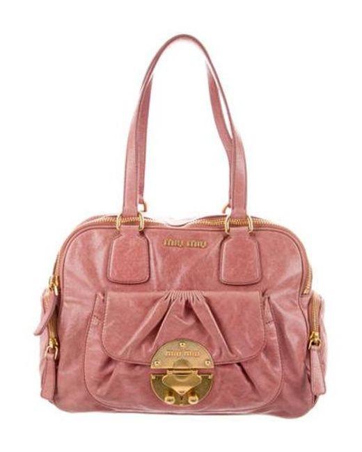 6db6fb8f8c7d Miu Miu - Metallic Miu Leather Shoulder Bag Pink - Lyst ...