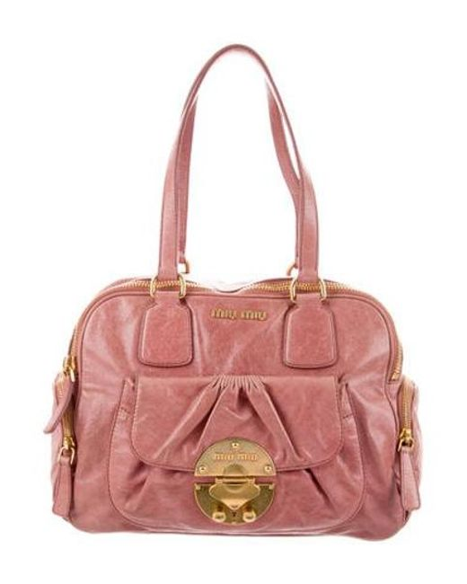 f4b9c4a10be5 Miu Miu - Metallic Miu Leather Shoulder Bag Pink - Lyst ...