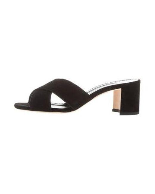 a868582c52fc Manolo Blahnik - Black Suede Slide Sandals - Lyst ...