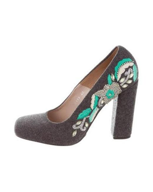 a9c63abc240 Dries Van Noten - Bead-embellished Embroidered Pumps Multicolor - Lyst ...