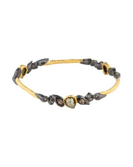 Alexis Bittar - Metallic Pyrite & Crystal Elements Phoenix Rocky Bangle Gold - Lyst