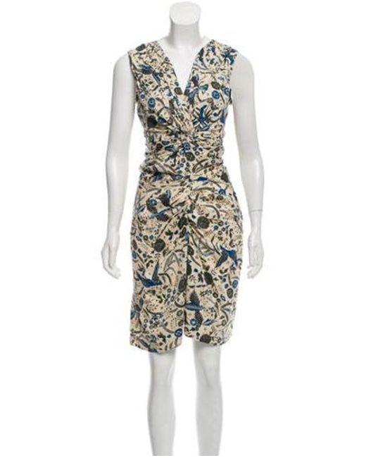 b9c71a7df55 Étoile Isabel Marant - Natural Printed V-neck Dress Beige - Lyst ...