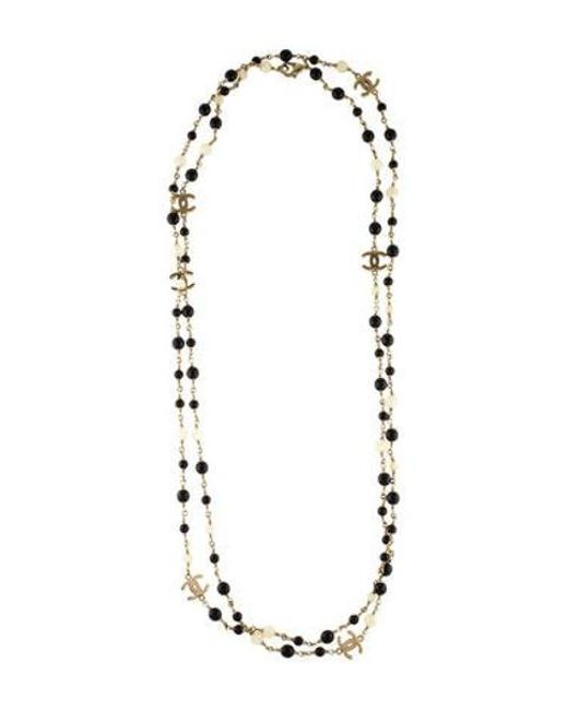 Chanel - Metallic Cc & Bead Long Station Necklace Gold - Lyst