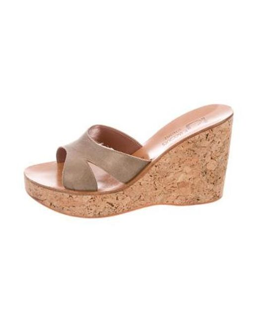 c66a2cf05d1 K. Jacques - Metallic Suede Wedge Sandals Gold - Lyst ...