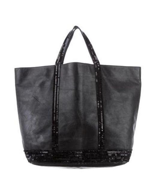 cedd1b17bc6d Vanessa Bruno - Black Sequin-embellished Leather Tote - Lyst ...