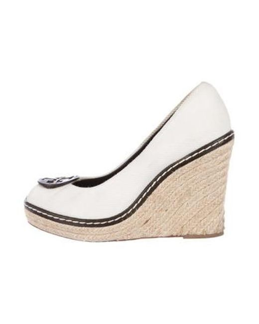 44ca224fb23 Tory Burch - White Peep-toe Espadrille Wedges - Lyst ...