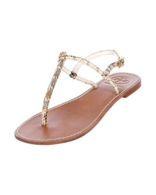 dd3c0c0884a8 ... Tory Burch - Metallic Embossed Leather Sandals Tan - Lyst ...