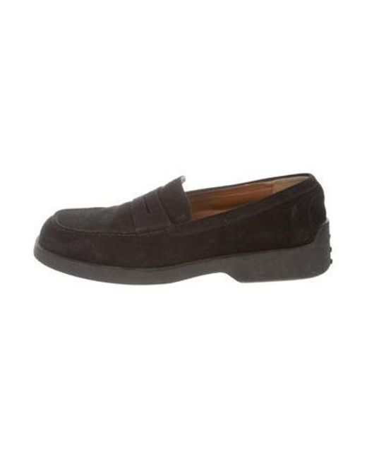 56be4e7693a Tod s - Black Suede Penny Loafers for Men - Lyst ...