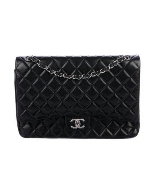 6ae8bb8858a0 Chanel - Metallic Classic Maxi Double Flap Bag Black - Lyst ...