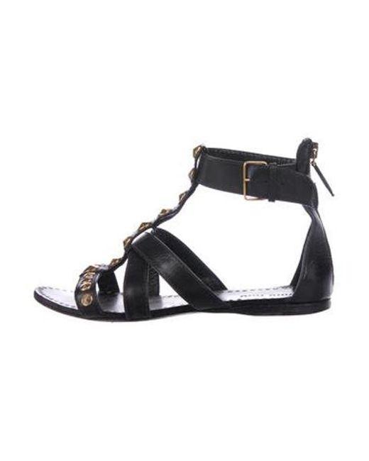 d33b796ec1f8 Miu Miu - Metallic Miu Studded Leather Sandals Black - Lyst ...