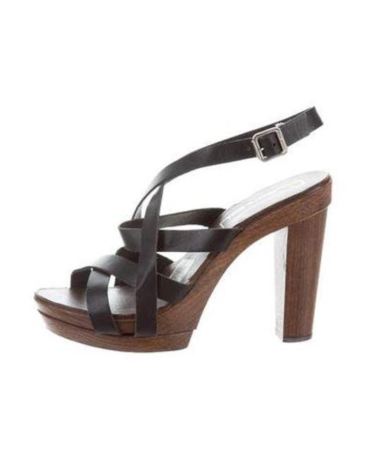 88bce1cf24b0 Michael Kors - Black Leather Platform Sandals - Lyst ...