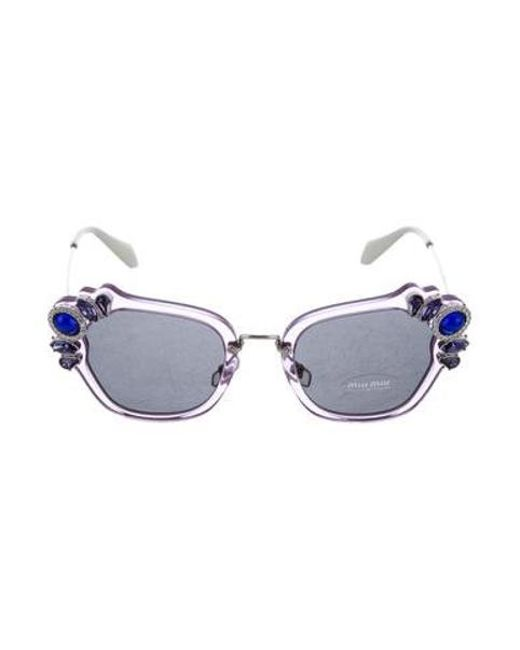 38fde65e07aa Miu Miu - Purple Miu Embellished Tinted Sunglasses W  Tags - Lyst ...