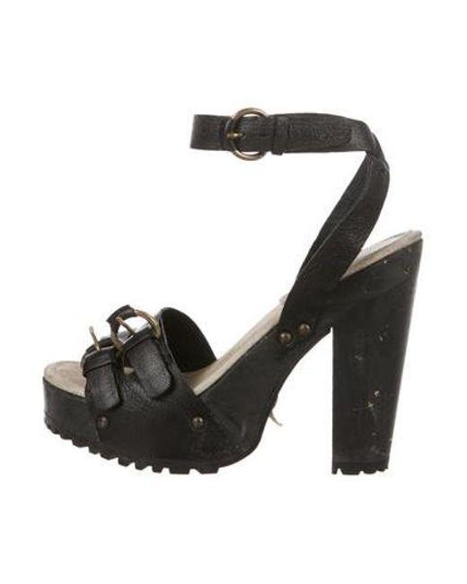 842e7876b Miu Miu - Black Miu Leather Platform Sandals - Lyst ...