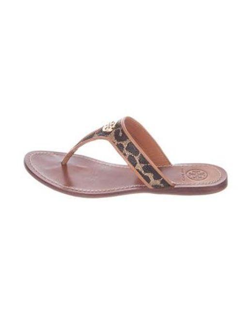 117a70b5cca5 Tory Burch - Metallic Cameron Leather Sandals Brown - Lyst ...