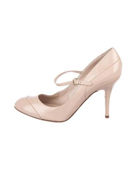 12dcb2541fa Lyst - Sergio Rossi Patent Leather Mary Jane Pumps Nude in Natural ...