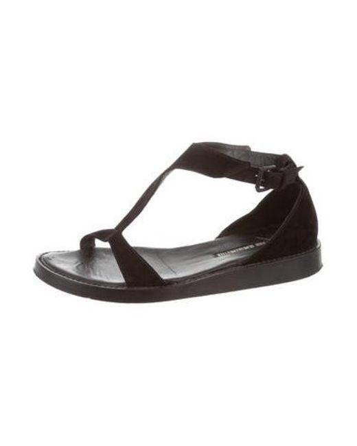 87c37135f4b038 ... Ann Demeulemeester - Black Suede Ankle Strap Sandals - Lyst ...