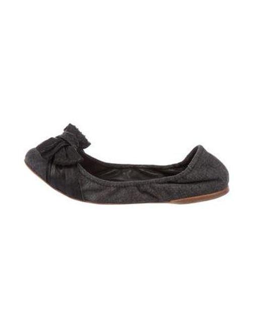 95a2a0d153f62 Miu Miu - Black Miu Denim Bow Flats - Lyst ...