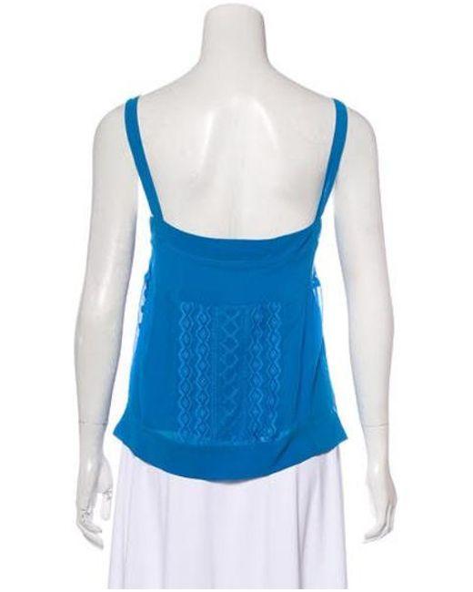 534456bfa0ee3 ... Diane von Furstenberg - Blue Embroidered Silk Top - Lyst