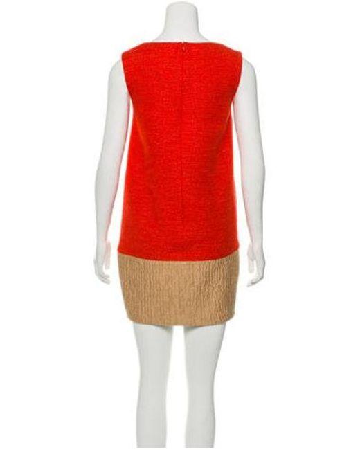 d56b10200f1717 ... Giambattista Valli - Natural Wool Sleeveless Mini Dress Orange - Lyst
