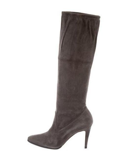 5ae822b9096 Manolo Blahnik - Gray Suede Knee-high Boots Grey - Lyst ...