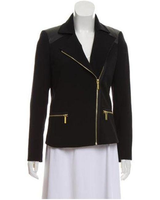 MICHAEL Michael Kors - Metallic Michael Kors Notched-lapel Zip-up Jacket Black - Lyst