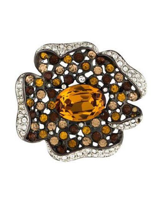 Kenneth Jay Lane - Metallic Crystal Flower Brooch Silver - Lyst