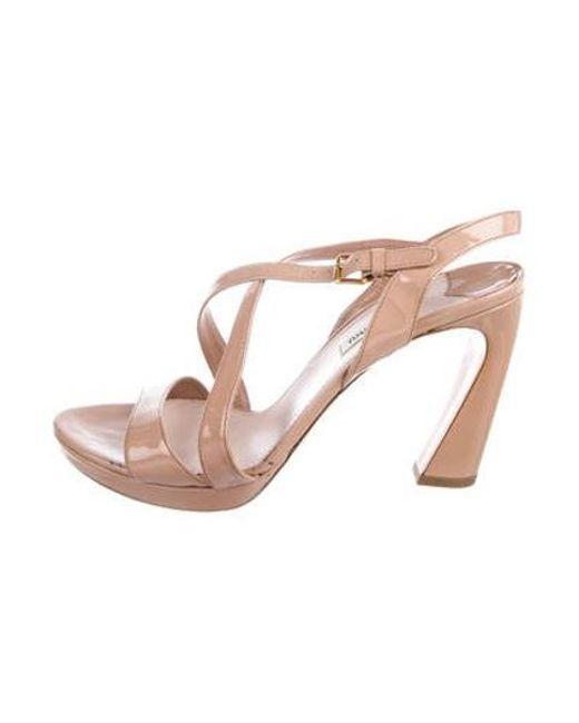 9685384245b1 Miu Miu - Natural Miu Patent Leather Platform Sandals Nude - Lyst ...