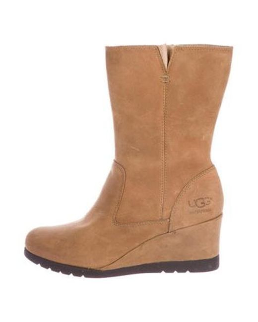 a161afd18bf Ugg - Brown Suede Wedge Boots - Lyst ...