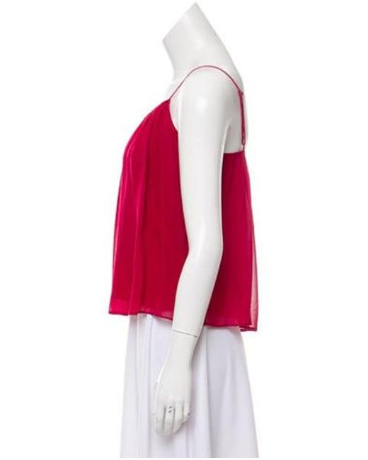 14fbc3cb36f25 ... Alice + Olivia - Red Sleeveless Silk Top Burgundy - Lyst ...