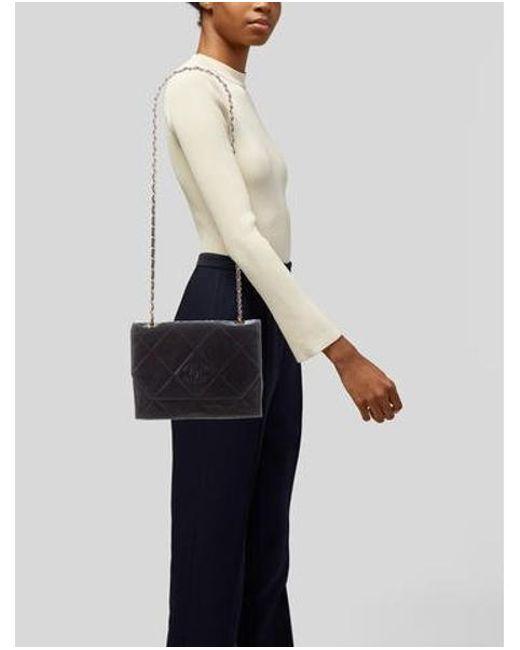bc685b45f51 ... Chanel - Metallic Lambskin Cc Flap Bag Navy - Lyst ...