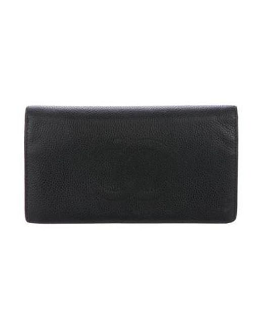 29c71b8053e2 Chanel - Metallic Caviar Timeless Yen Wallet Black - Lyst ...
