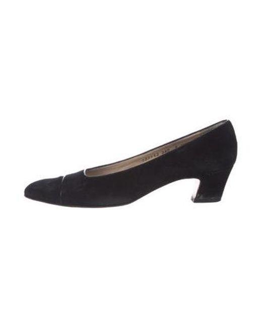 Ferragamo - Black Suede Pointed-toe Pumps - Lyst