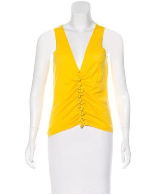 Naeem Khan - Yellow Embellished Cashmere Top - Lyst