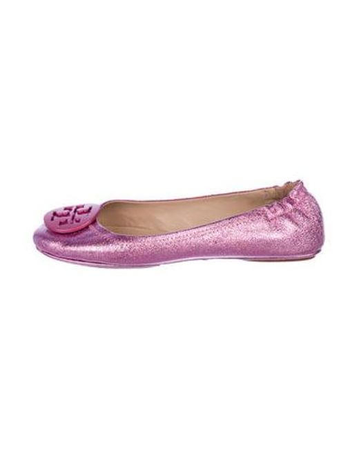 2b4d62744fe Tory Burch - Pink Leather Ballet Flats - Lyst ...