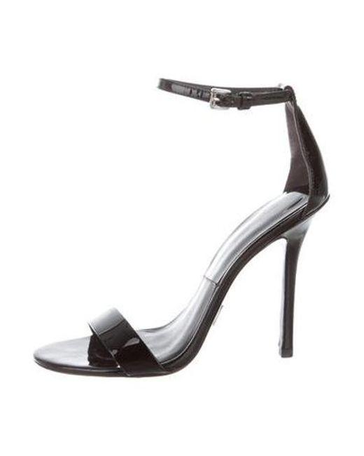 0efac730a43e Michael Kors - Black Patent Leather Ankle Strap Sandals - Lyst ...