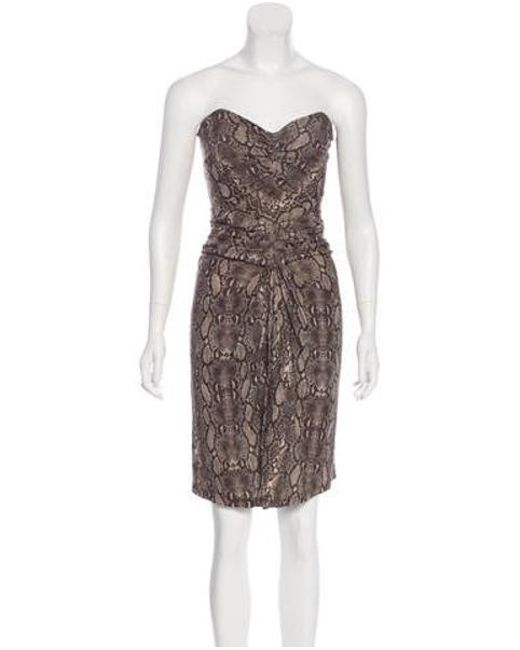 1206b0f306f Michael Kors - Natural Strapless Knee-length Dress Brown - Lyst ...