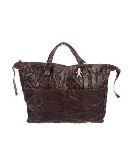 Henry Beguelin - Metallic Distressed Leather Satchel Silver - Lyst ... 3d31d77d85545