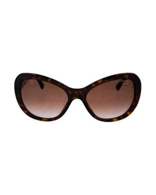 3a7a64523bb Chanel - Metallic Signature Cat-eye Sunglasses Brown - Lyst ...