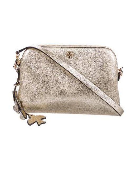 c93a25844baa Tory Burch - Metallic Peace Crossbody Bag - Lyst ...