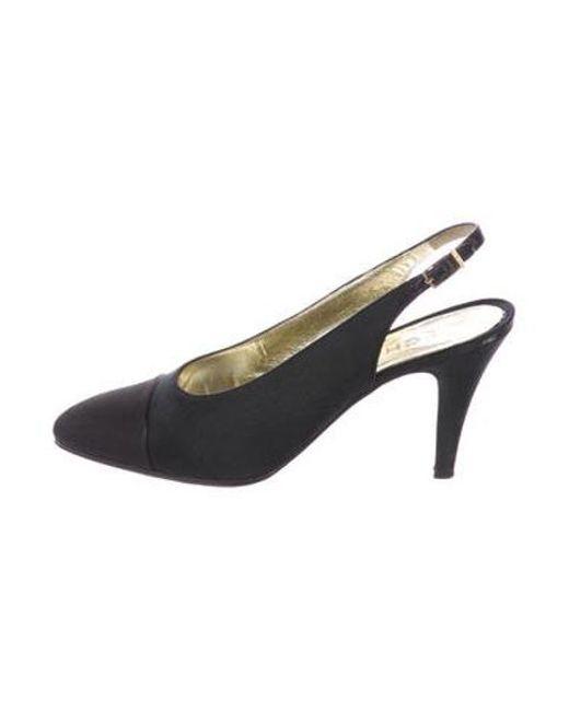 Chanel - Metallic Satin Cap-toe Pumps Black - Lyst ...