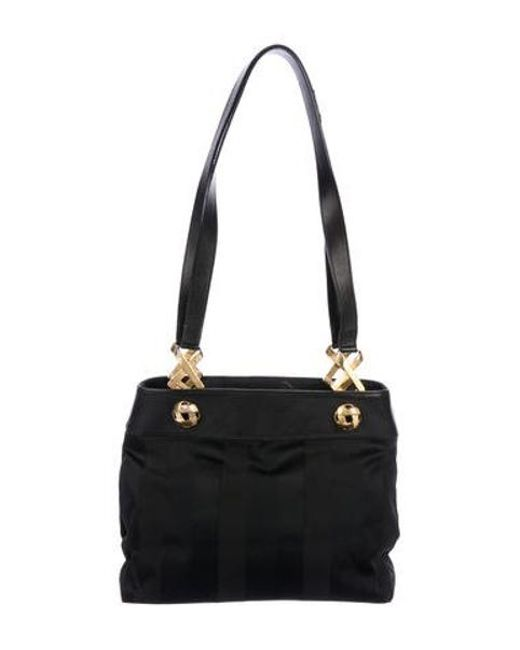 07de847a17 Ferragamo - Metallic Leather-trimmed Shoulder Bag Black - Lyst ...
