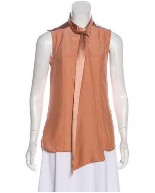 389c4e7a0e0ad Adam Lippes - Natural Silk Sleeveless High Neck Bow Button Down Blouse W/  Tags Neutrals ...