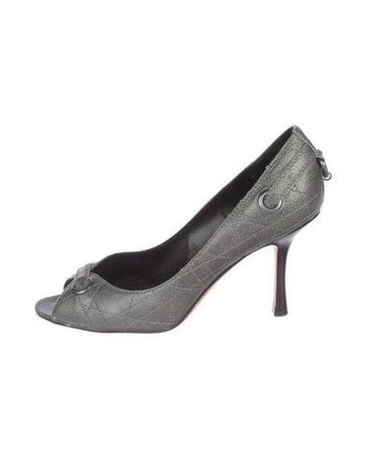 17e83265026 Dior - Metallic Quilted Leather Peep-toe Pumps Silver - Lyst ...
