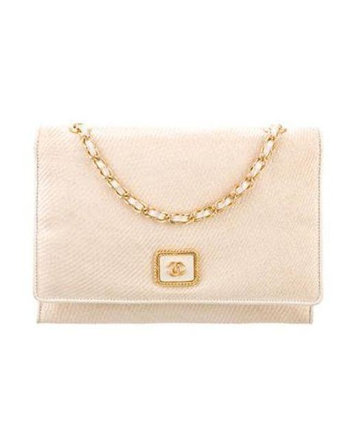 Chanel - Metallic Vintage Raffia Flap Bag Gold - Lyst ... c94fa897fa723