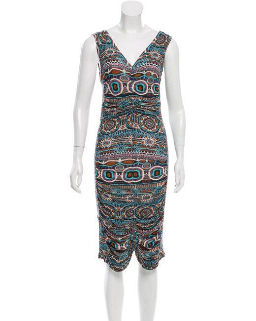 Jean Paul Gaultier | Blue Printed Draped Dress | Lyst