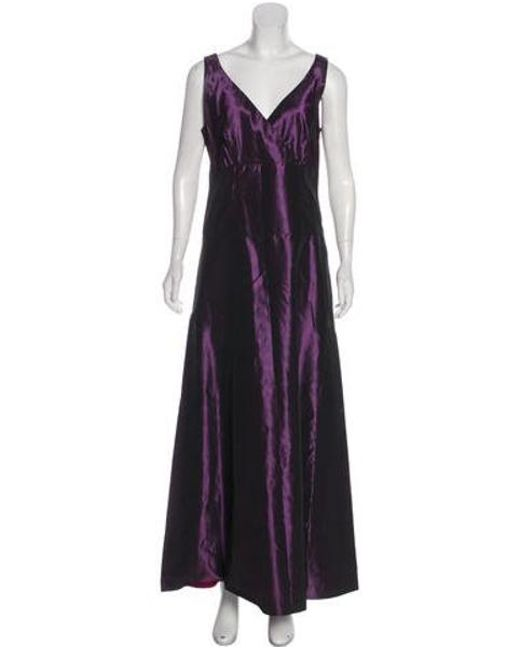 Lyst Vera Wang Taffeta Evening Gown In Purple