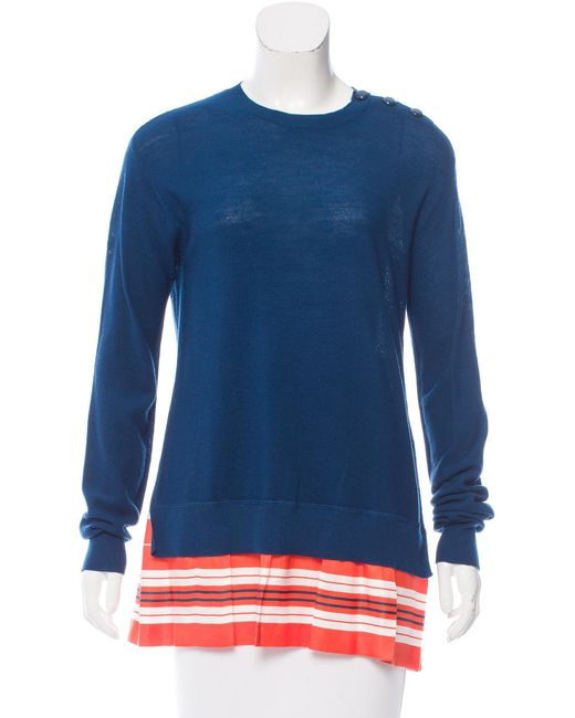 Louis Vuitton | Blue Wool And Silk Top | Lyst