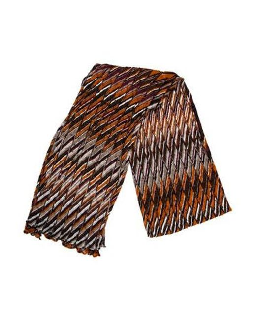 Lyst Missoni Knit Patterned Scarf In Brown